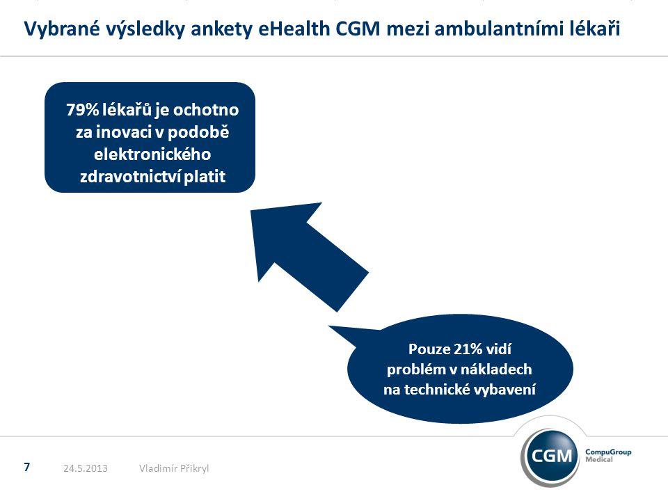 Vybrané výsledky ankety eHealth CGM mezi ambulantními lékaři 7 24.5.2013Vladimír Přikryl Pouze 21% vidí problém v nákladech na technické vybavení 79% lékařů je ochotno za inovaci v podobě elektronického zdravotnictví platit
