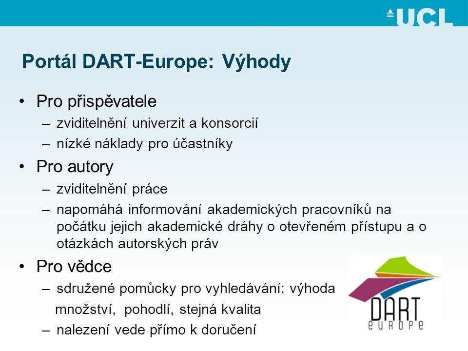 Portál DART-Europe: Výhody •Pro přispěvatele –zviditelnění univerzit a konsorcií –nízké náklady pro účastníky •Pro autory –zviditelnění práce –napomáhá informování akademických pracovníků na počátku jejich akademické dráhy o otevřeném přístupu a o otázkách autorských práv •Pro vědce –sdružené pomůcky pro vyhledávání: výhoda množství, pohodlí, stejná kvalita –nalezení vede přímo k doručení