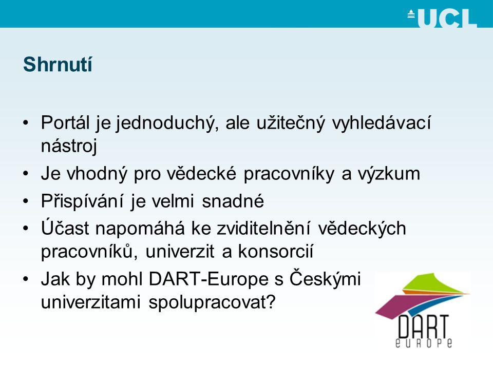 Shrnutí •Portál je jednoduchý, ale užitečný vyhledávací nástroj •Je vhodný pro vědecké pracovníky a výzkum •Přispívání je velmi snadné •Účast napomáhá ke zviditelnění vědeckých pracovníků, univerzit a konsorcií •Jak by mohl DART-Europe s Českými univerzitami spolupracovat?
