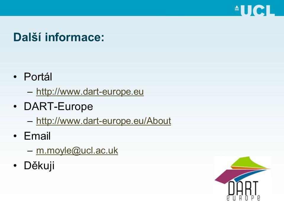 Další informace: •Portál –http://www.dart-europe.euhttp://www.dart-europe.eu •DART-Europe –http://www.dart-europe.eu/Abouthttp://www.dart-europe.eu/About •Email –m.moyle@ucl.ac.ukm.moyle@ucl.ac.uk •Děkuji