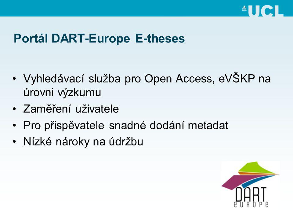 Portál DART-Europe E-theses •Vyhledávací služba pro Open Access, eVŠKP na úrovni výzkumu •Zaměření uživatele •Pro přispěvatele snadné dodání metadat •Nízké nároky na údržbu