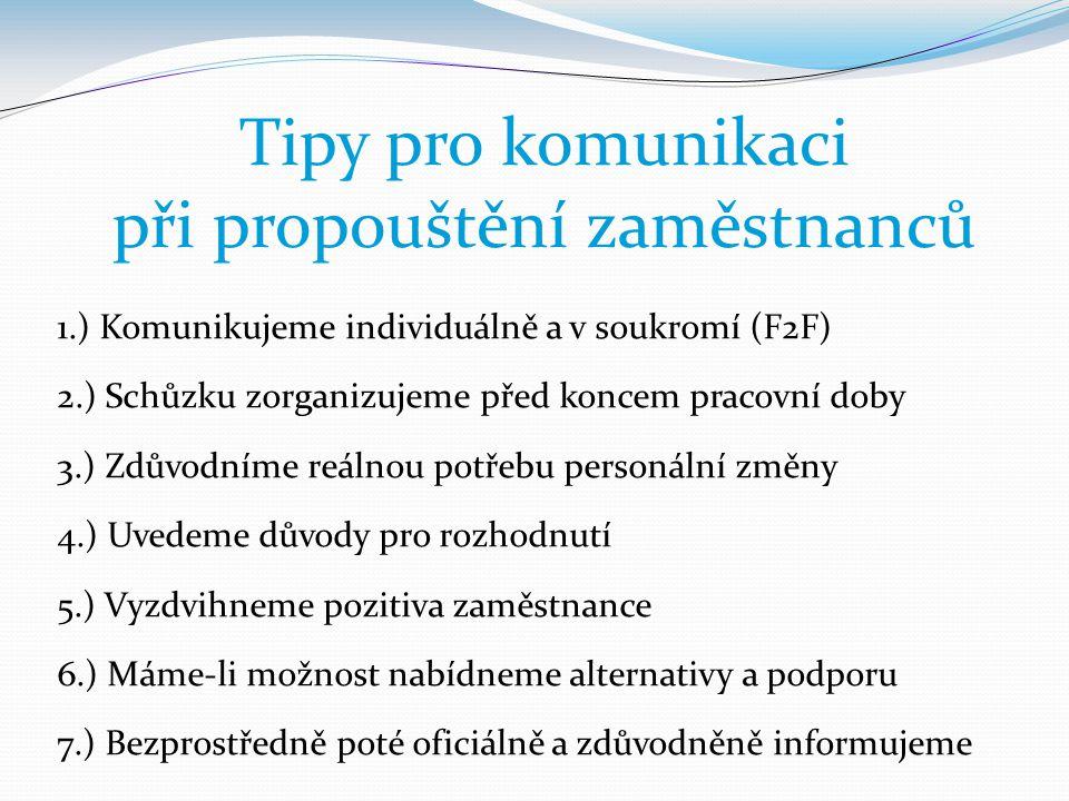 Tipy pro komunikaci při propouštění zaměstnanců 1.) Komunikujeme individuálně a v soukromí (F2F) 2.) Schůzku zorganizujeme před koncem pracovní doby 3