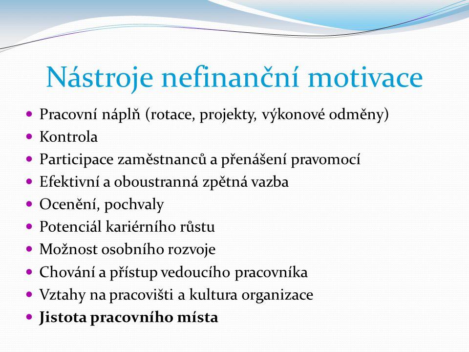 Nástroje nefinanční motivace  Pracovní náplň (rotace, projekty, výkonové odměny)  Kontrola  Participace zaměstnanců a přenášení pravomocí  Efektiv