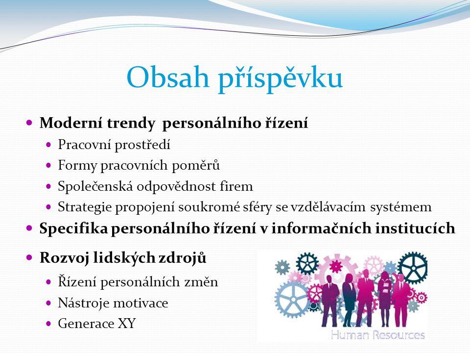 Obsah příspěvku  Moderní trendy personálního řízení  Pracovní prostředí  Formy pracovních poměrů  Společenská odpovědnost firem  Strategie propoj
