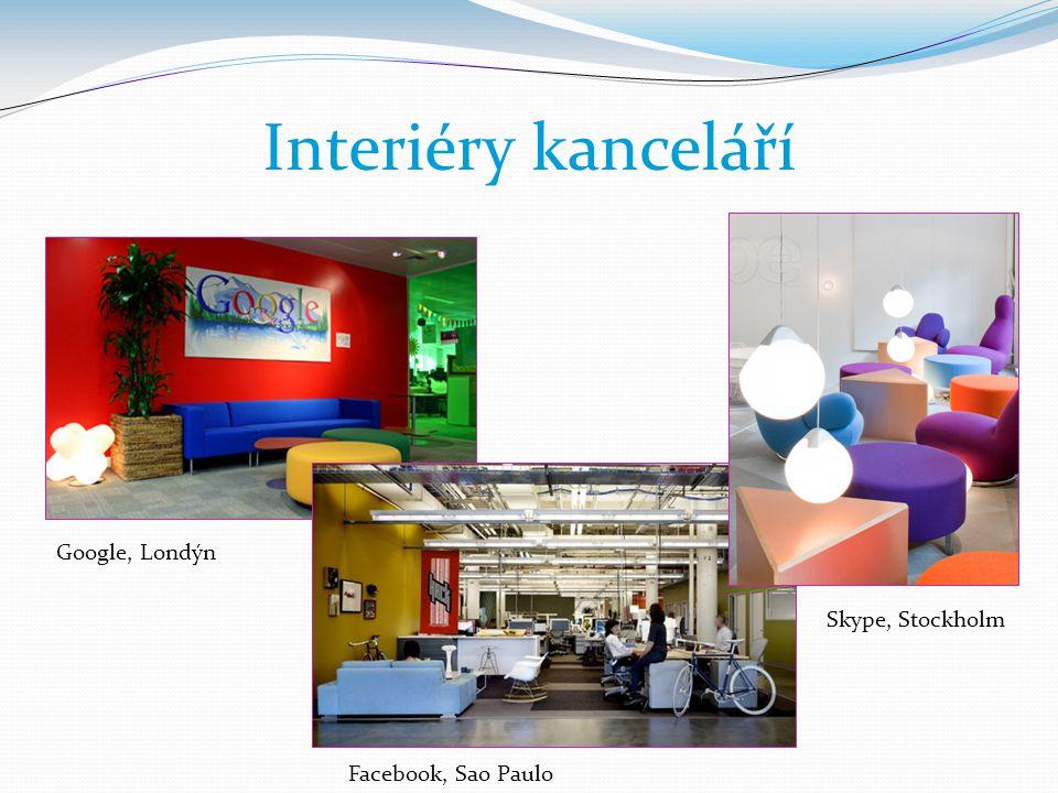 Interiéry kanceláří Google, Londýn Skype, Stockholm Facebook, Sao Paulo