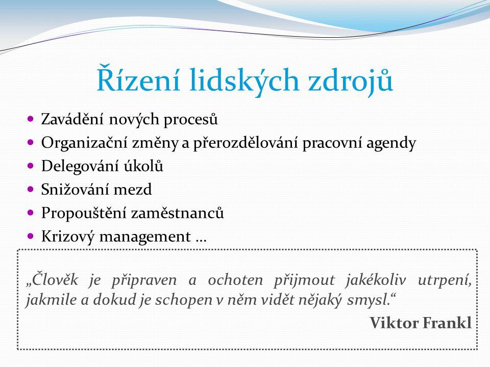 Řízení lidských zdrojů  Zavádění nových procesů  Organizační změny a přerozdělování pracovní agendy  Delegování úkolů  Snižování mezd  Propouštěn