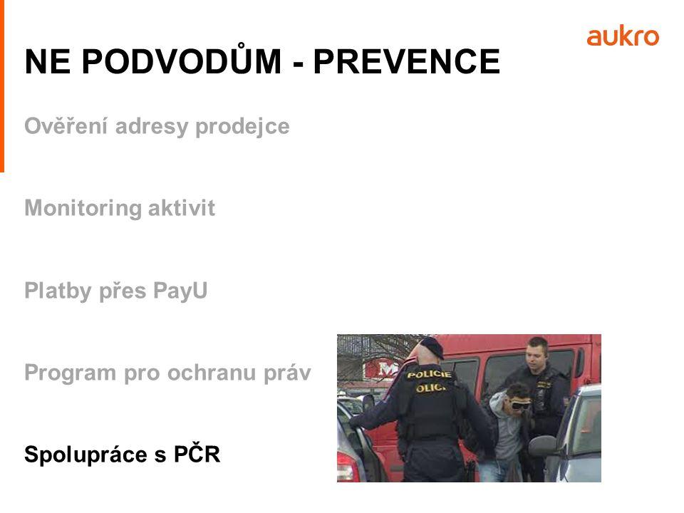 Ověření adresy prodejce Monitoring aktivit Platby přes PayU Program pro ochranu práv Spolupráce s PČR NE PODVODŮM - PREVENCE