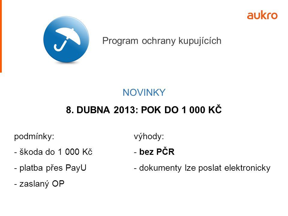 NOVINKY 8. DUBNA 2013: POK DO 1 000 KČ výhody: - bez PČR - dokumenty lze poslat elektronicky podmínky: - škoda do 1 000 Kč - platba přes PayU - zaslan