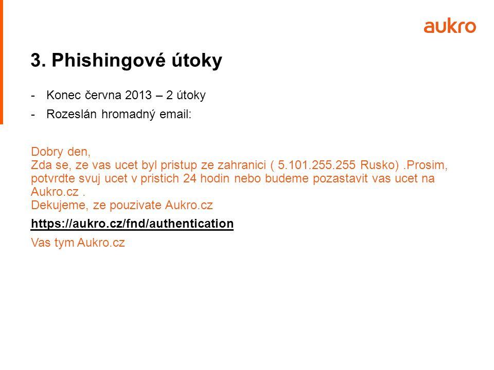 3. Phishingové útoky -Konec června 2013 – 2 útoky -Rozeslán hromadný email: Dobry den, Zda se, ze vas ucet byl pristup ze zahranici ( 5.101.255.255 Ru