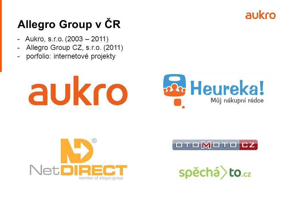 Allegro Group v ČR - Aukro, s.r.o. (2003 – 2011) - Allegro Group CZ, s.r.o. (2011) - porfolio: internetové projekty