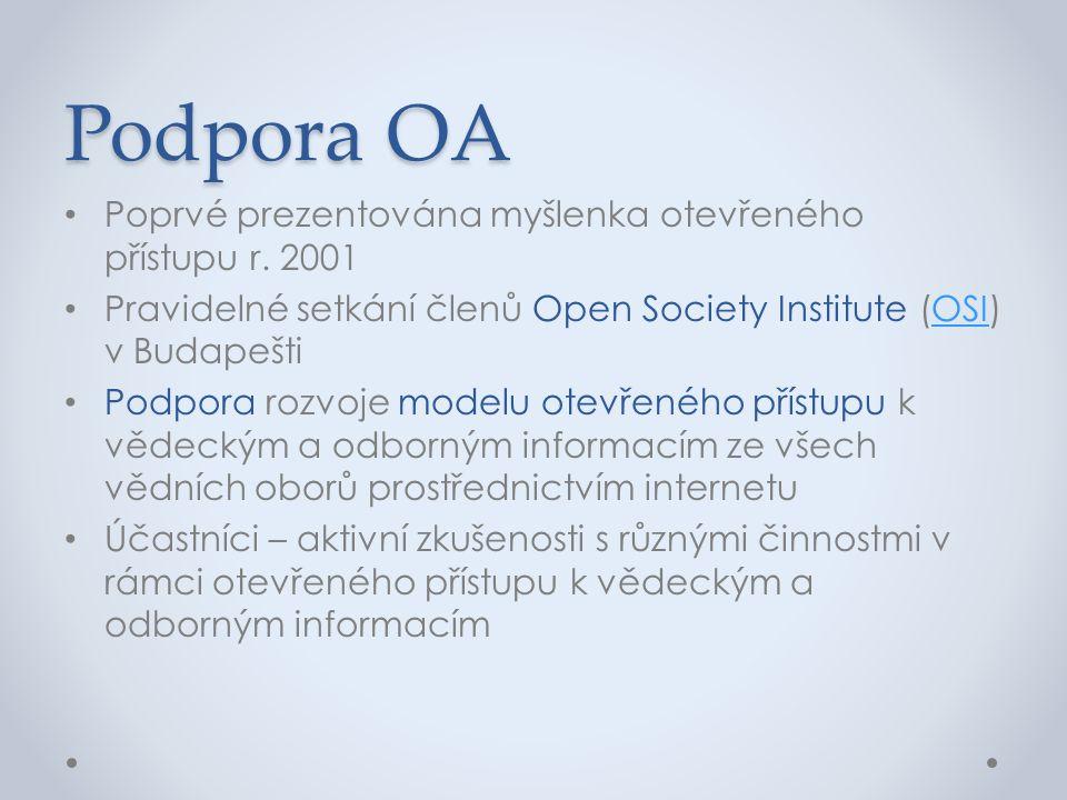 Podpora OA • Poprvé prezentována myšlenka otevřeného přístupu r. 2001 • Pravidelné setkání členů Open Society Institute (OSI) v BudapeštiOSI • Podpora