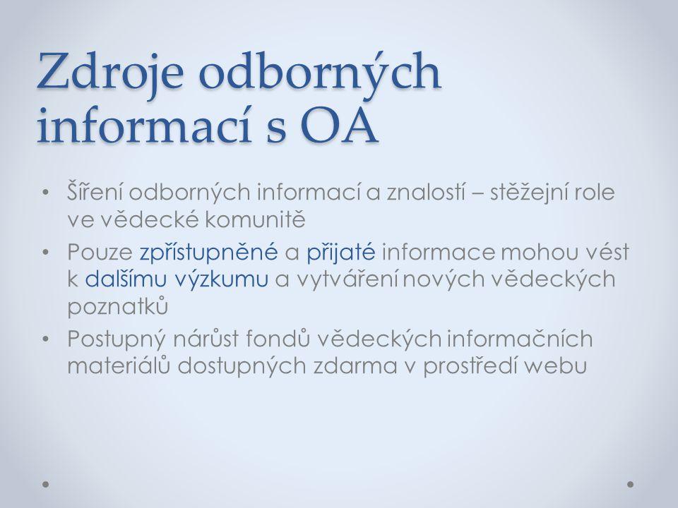 Zdroje odborných informací s OA • Šíření odborných informací a znalostí – stěžejní role ve vědecké komunitě • Pouze zpřístupněné a přijaté informace m