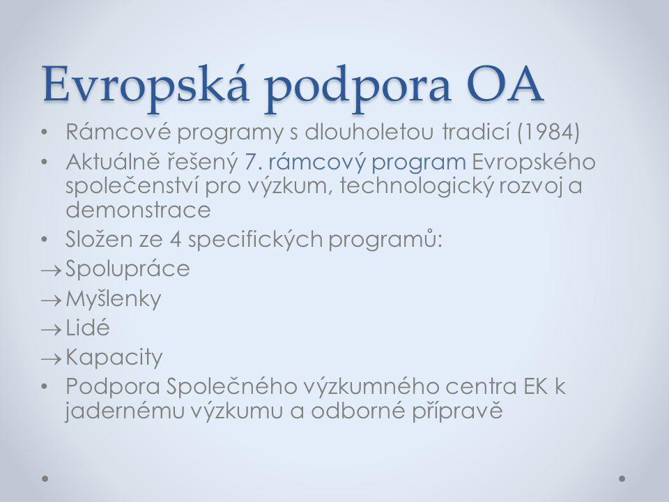 Evropská podpora OA • Rámcové programy s dlouholetou tradicí (1984) • Aktuálně řešený 7. rámcový program Evropského společenství pro výzkum, technolog