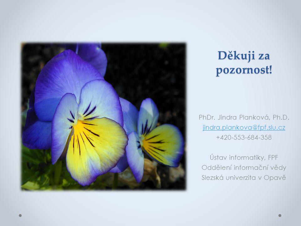 Děkuji za pozornost! PhDr. Jindra Planková, Ph.D. jindra.plankova@fpf.slu.cz +420-553-684-358 Ústav informatiky, FPF Oddělení informační vědy Slezská