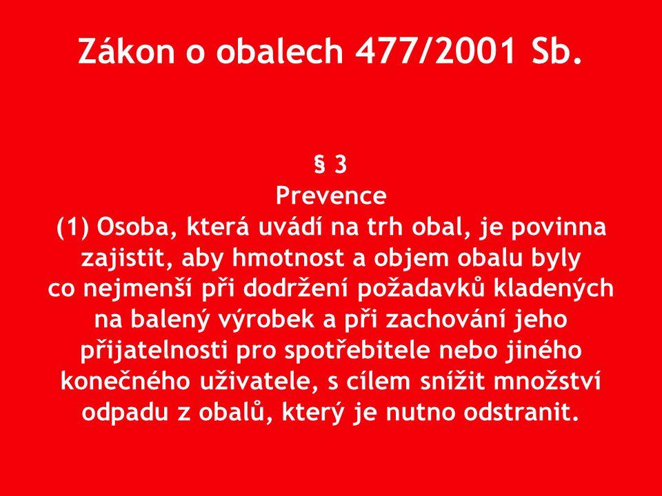 § 3 Prevence (1) Osoba, která uvádí na trh obal, je povinna zajistit, aby hmotnost a objem obalu byly co nejmenší při dodržení požadavků kladených na