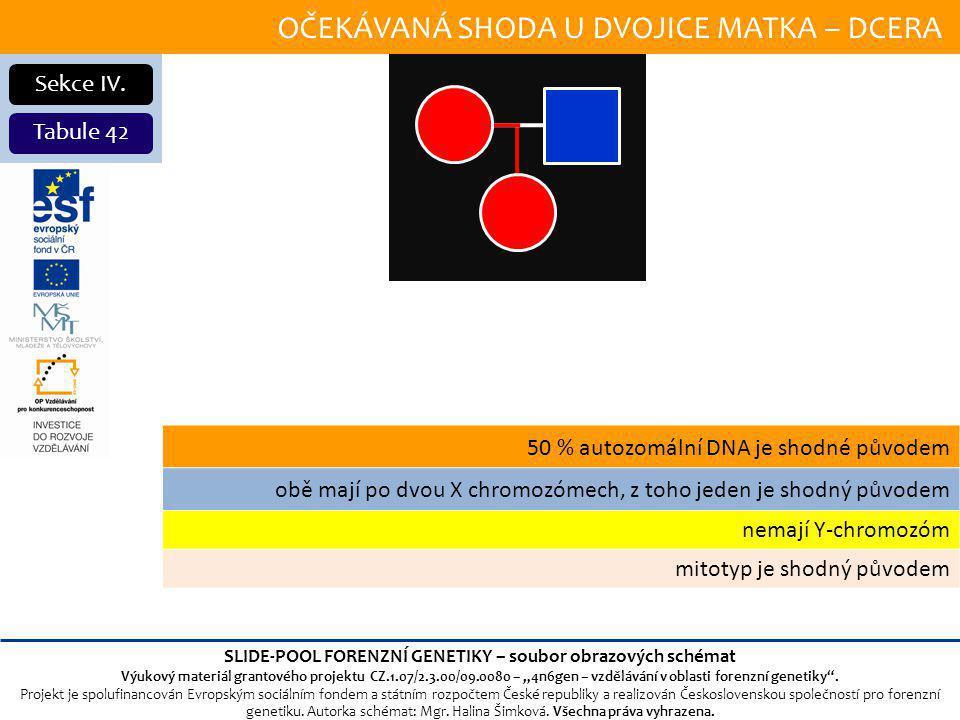 OČEKÁVANÁ SHODA U DVOJICE MATKA – DCERA Sekce IV.