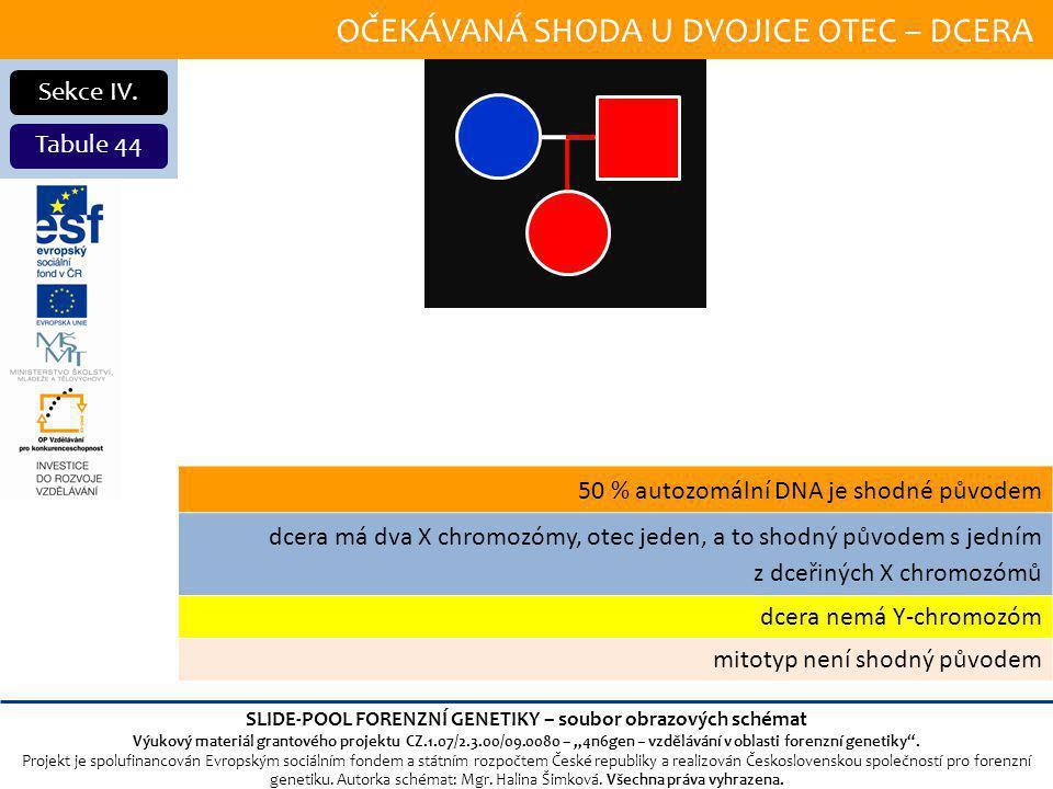 OČEKÁVANÁ SHODA U DVOJICE OTEC – DCERA Sekce IV.
