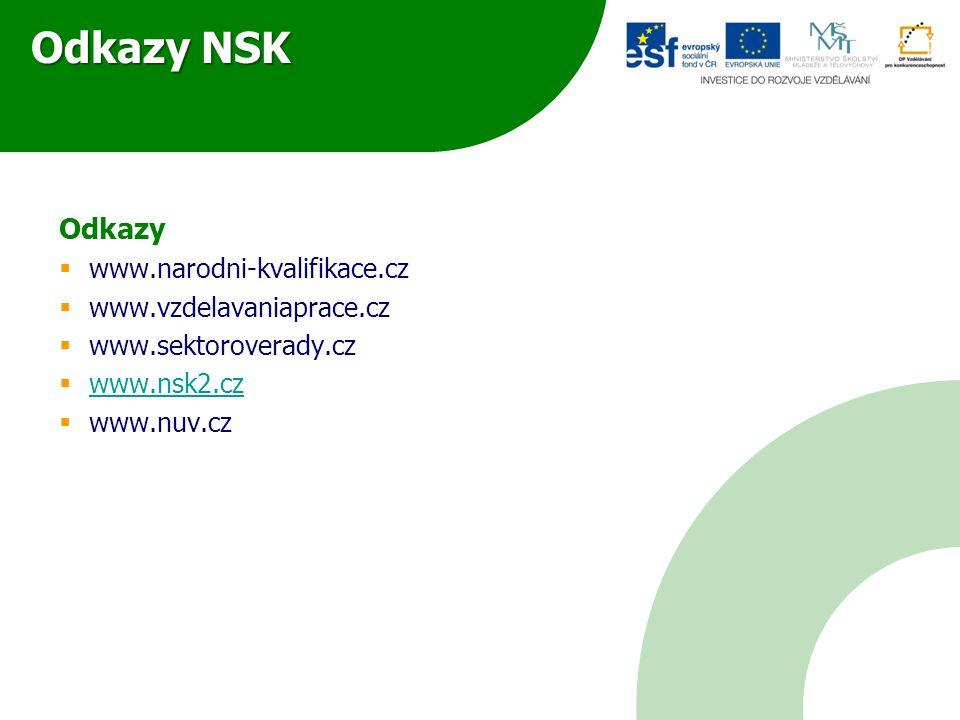 Odkazy NSK Odkazy  www.narodni-kvalifikace.cz  www.vzdelavaniaprace.cz  www.sektoroverady.cz  www.nsk2.cz www.nsk2.cz  www.nuv.cz
