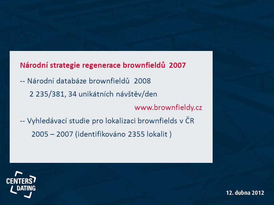 Národní strategie regenerace brownfieldů 2007 -- Národní databáze brownfieldů 2008 2 235/381, 34 unikátních návštěv/den www.brownfieldy.cz -- Vyhledávací studie pro lokalizaci brownfields v ČR 2005 – 2007 (identifikováno 2355 lokalit )