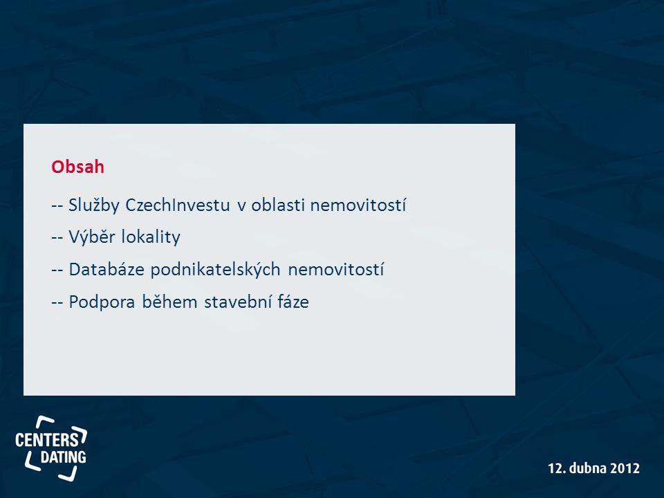 Obsah -- Služby CzechInvestu v oblasti nemovitostí -- Výběr lokality -- Databáze podnikatelských nemovitostí -- Podpora během stavební fáze
