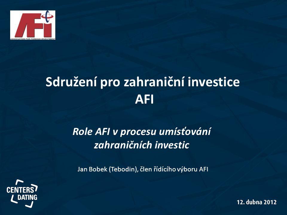 Sdružení pro zahraniční investice AFI Role AFI v procesu umísťování zahraničních investic Jan Bobek (Tebodin), člen řídícího výboru AFI