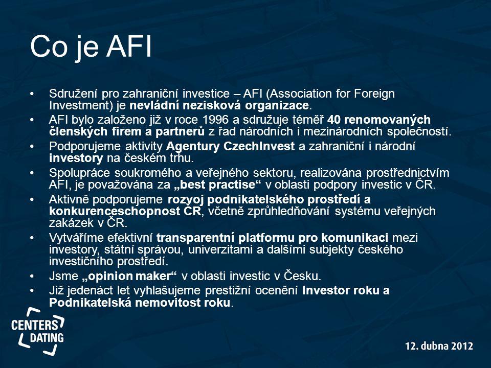 Co je AFI •Sdružení pro zahraniční investice – AFI (Association for Foreign Investment) je nevládní nezisková organizace. •AFI bylo založeno již v roc