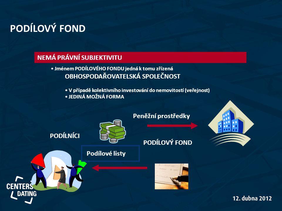 Peněžní prostředky Podílové listy • Jménem PODÍLOVÉHO FONDU jedná k tomu zřízená OBHOSPODAŘOVATELSKÁ SPOLEČNOST • V případě kolektivního investování do nemovitostí (veřejnost) • JEDINÁ MOŽNÁ FORMA PODÍLNÍCI PODÍLOVÝ FOND NEMÁ PRÁVNÍ SUBJEKTIVITU