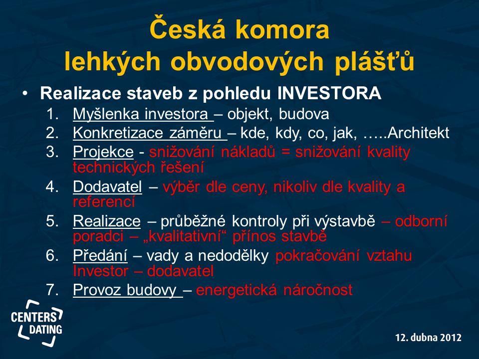 Česká komora lehkých obvodových plášťů •Realizace staveb z pohledu INVESTORA 1.Myšlenka investora – objekt, budova 2.Konkretizace záměru – kde, kdy, c