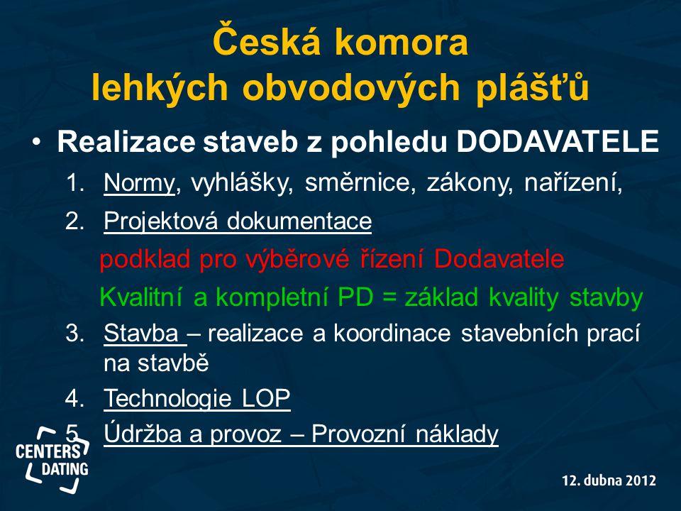 Česká komora lehkých obvodových plášťů •Realizace staveb z pohledu DODAVATELE 1.Normy, vyhlášky, směrnice, zákony, nařízení, 2.Projektová dokumentace