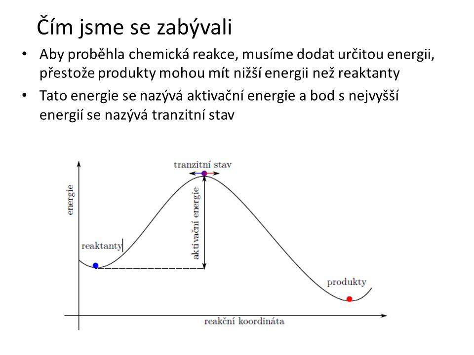 • Aby proběhla chemická reakce, musíme dodat určitou energii, přestože produkty mohou mít nižší energii než reaktanty • Tato energie se nazývá aktivační energie a bod s nejvyšší energií se nazývá tranzitní stav Čím jsme se zabývali