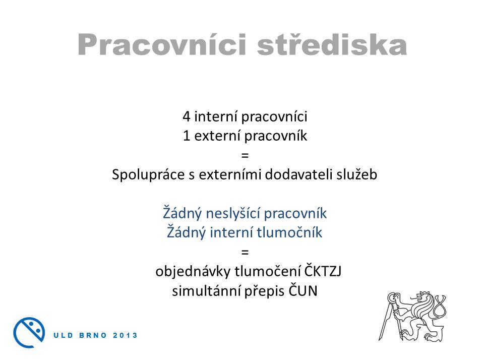 ULD BRNO 2013 4 interní pracovníci 1 externí pracovník = Spolupráce s externími dodavateli služeb Žádný neslyšící pracovník Žádný interní tlumočník = objednávky tlumočení ČKTZJ simultánní přepis ČUN Pracovníci střediska