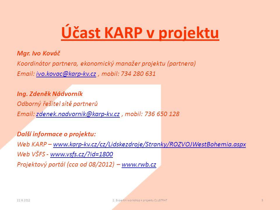Účast KARP v projektu 22.6.20122. Expertní workshop k projektu CLUSTRAT5 Mgr. Ivo Kováč Koordinátor partnera, ekonomický manažer projektu (partnera) E