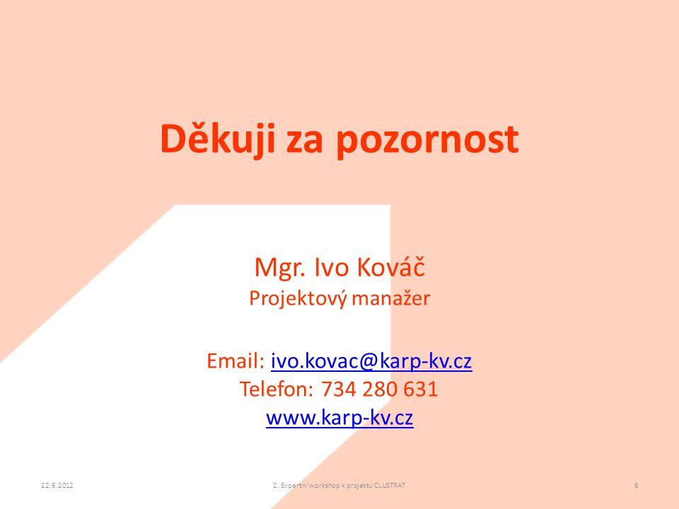 22.6.20122. Expertní workshop k projektu CLUSTRAT6 Děkuji za pozornost Mgr. Ivo Kováč Projektový manažer Email: ivo.kovac@karp-kv.czivo.kovac@karp-kv.
