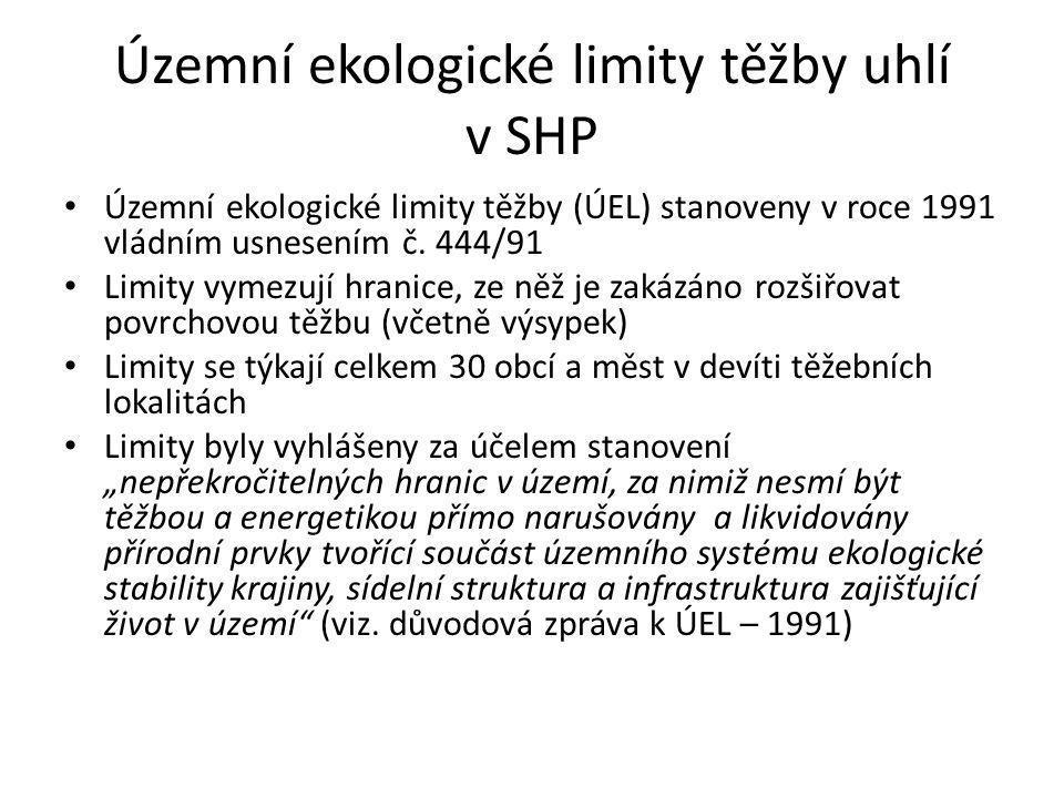 Územní ekologické limity těžby uhlí v SHP • Územní ekologické limity těžby (ÚEL) stanoveny v roce 1991 vládním usnesením č.