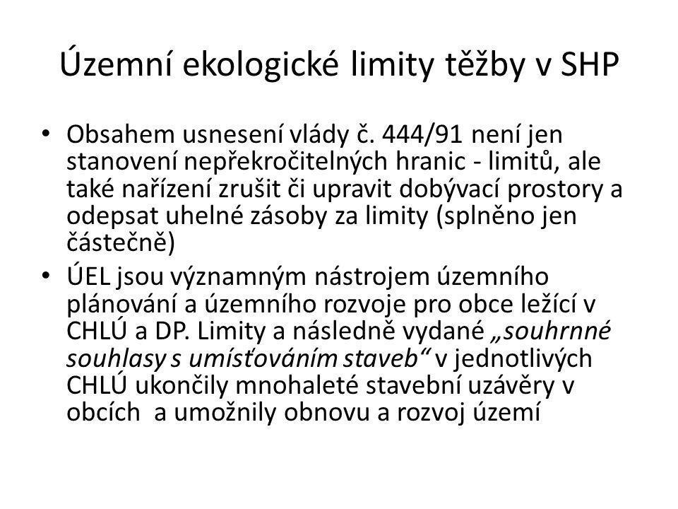 Územní ekologické limity těžby v SHP • Obsahem usnesení vlády č.