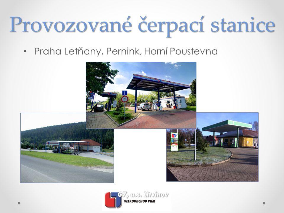 Provozované čerpací stanice • Praha Letňany, Pernink, Horní Poustevna