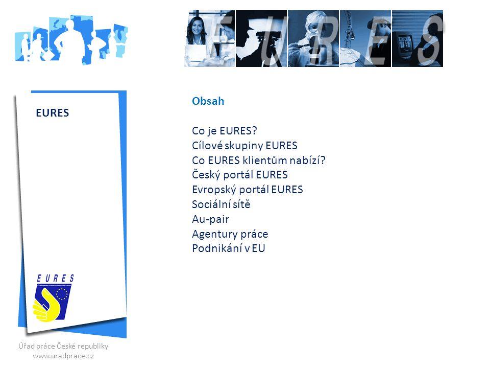 Obsah Co je EURES? Cílové skupiny EURES Co EURES klientům nabízí? Český portál EURES Evropský portál EURES Sociální sítě Au-pair Agentury práce Podnik