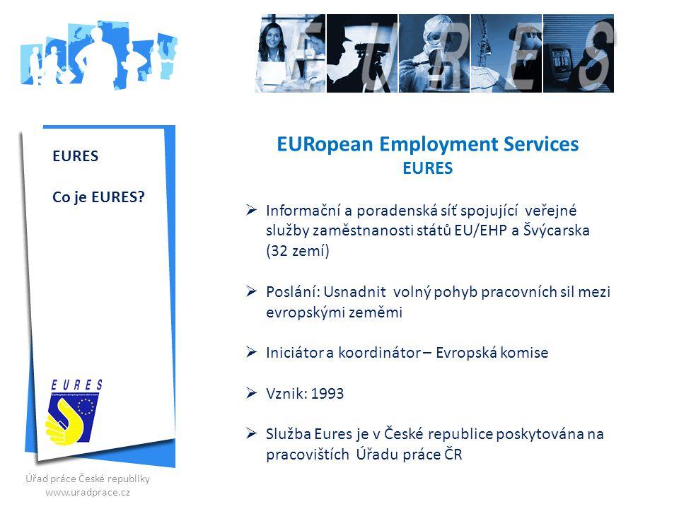 EURES Co je EURES? EURopean Employment Services EURES  Informační a poradenská síť spojující veřejné služby zaměstnanosti států EU/EHP a Švýcarska (3