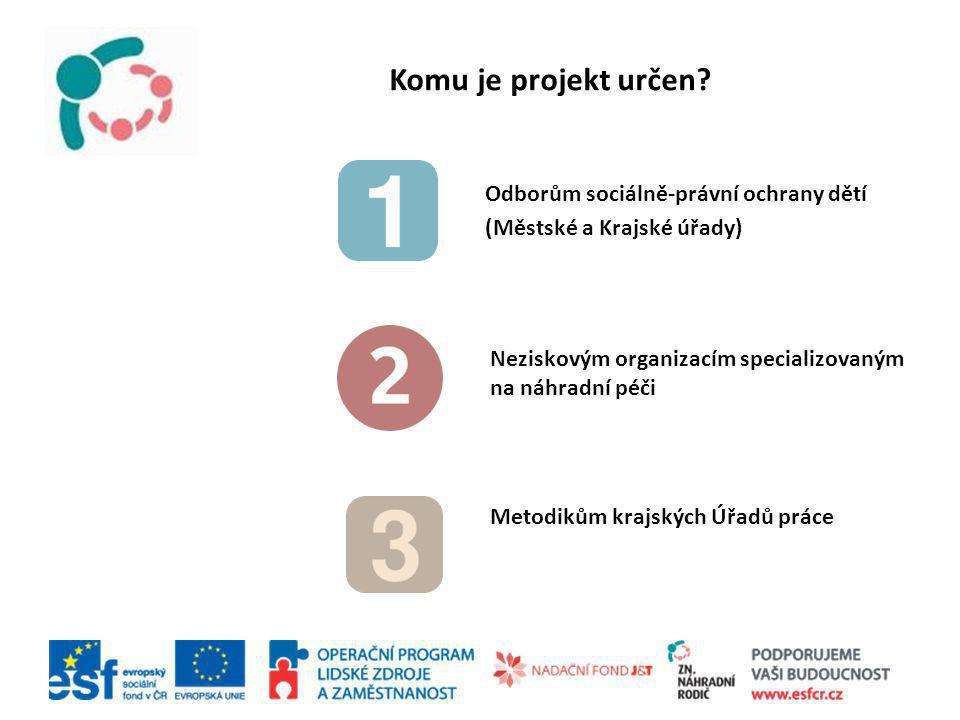 Odborům sociálně-právní ochrany dětí (Městské a Krajské úřady) Neziskovým organizacím specializovaným na náhradní péči Metodikům krajských Úřadů práce