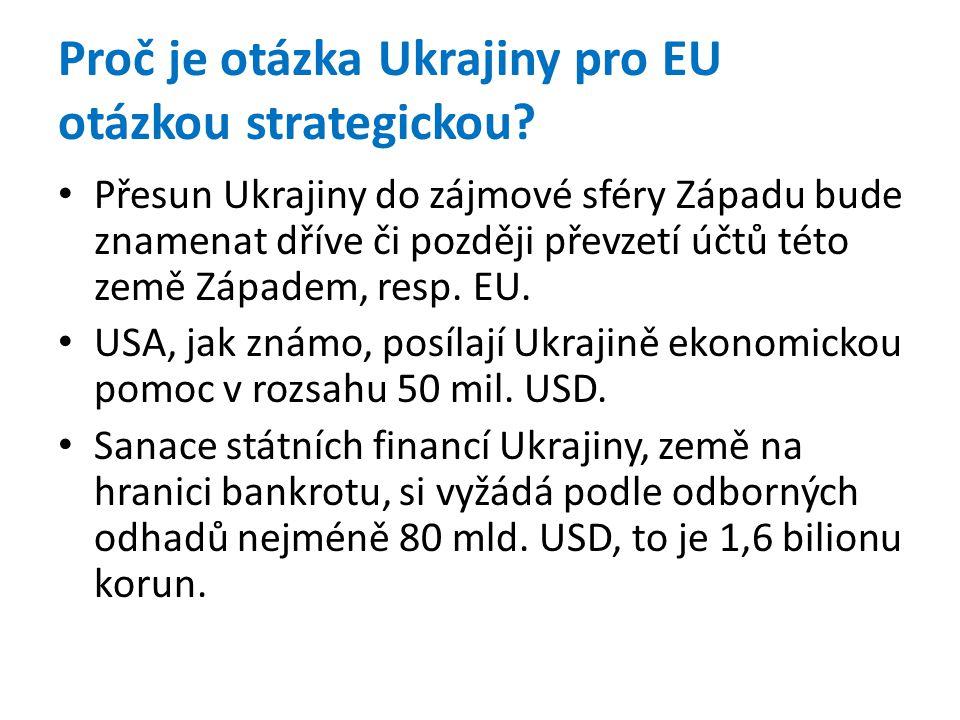 Proč je otázka Ukrajiny pro EU otázkou strategickou? • Přesun Ukrajiny do zájmové sféry Západu bude znamenat dříve či později převzetí účtů této země