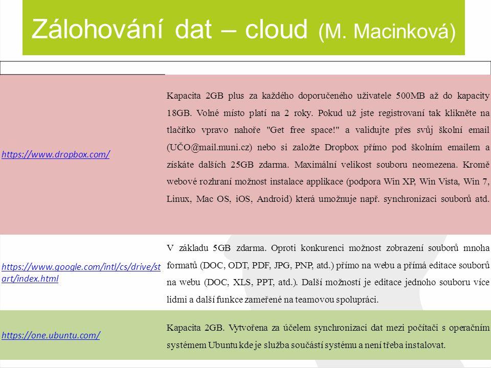 Zálohování dat – cloud (M. Macinková) https://www.dropbox.com/ Kapacita 2GB plus za každého doporučeného uživatele 500MB až do kapacity 18GB. Volné mí