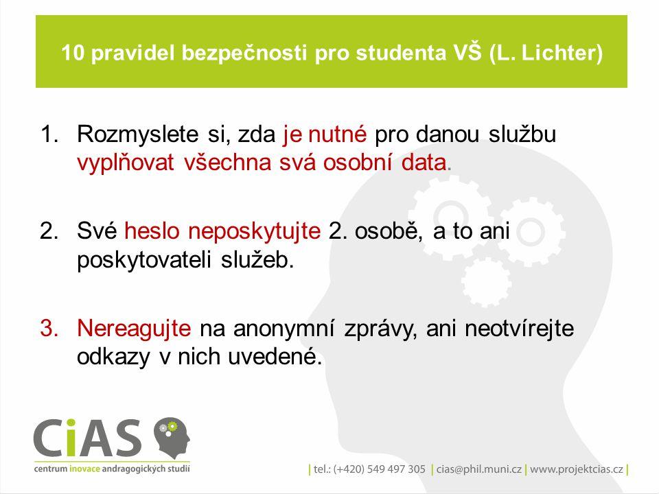 10 pravidel bezpečnosti pro studenta VŠ (L. Lichter) 1.Rozmyslete si, zda je nutné pro danou službu vyplňovat všechna svá osobní data. 2.Své heslo nep
