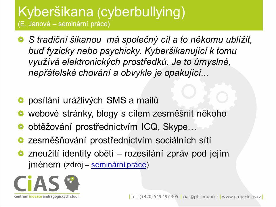 Kyberšikana ( cyberbullying) (E. Janová – seminární práce) S tradiční šikanou má společný cíl a to někomu ublížit, buď fyzicky nebo psychicky. Kyberši