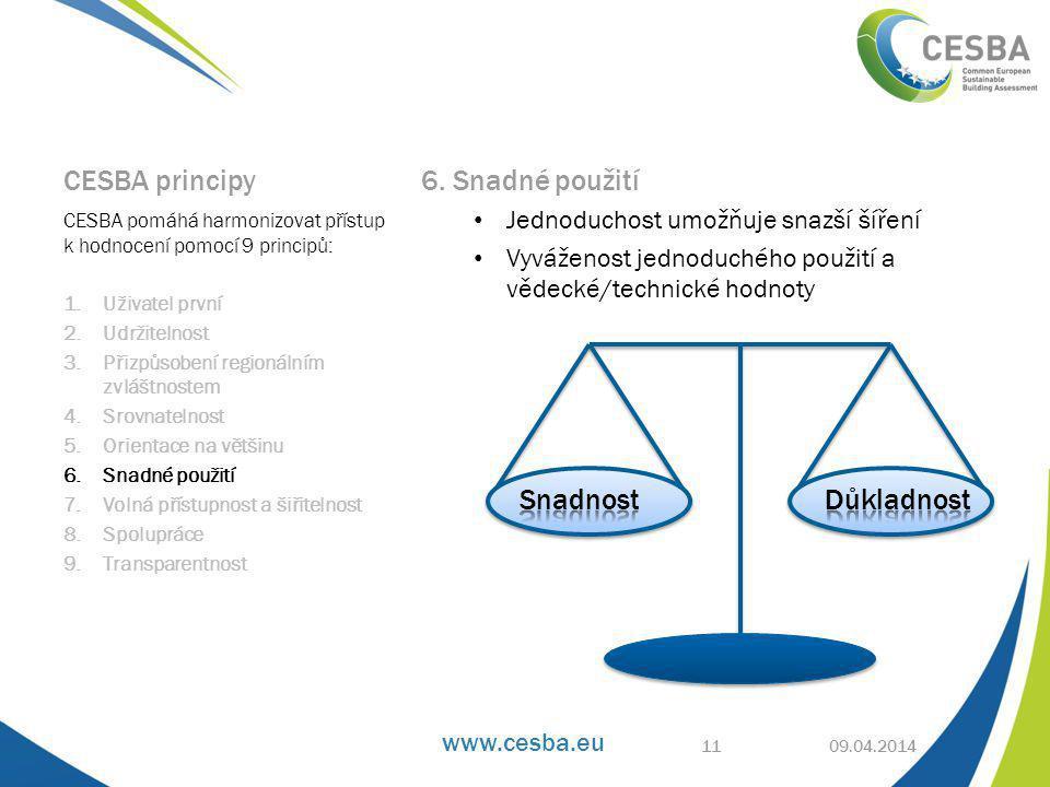 www.cesba.eu CESBA principy 6.