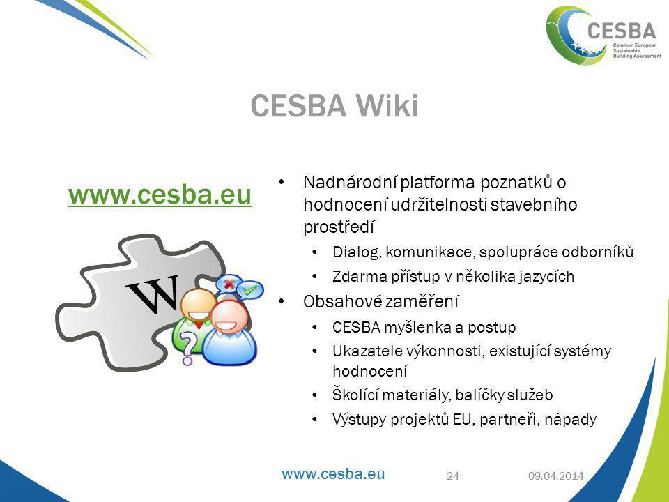 www.cesba.eu • Nadnárodní platforma poznatků o hodnocení udržitelnosti stavebního prostředí • Dialog, komunikace, spolupráce odborníků • Zdarma přístup v několika jazycích • Obsahové zaměření • CESBA myšlenka a postup • Ukazatele výkonnosti, existující systémy hodnocení • Školící materiály, balíčky služeb • Výstupy projektů EU, partneři, nápady 09.04.2014 CESBA Wiki www.cesba.eu 24