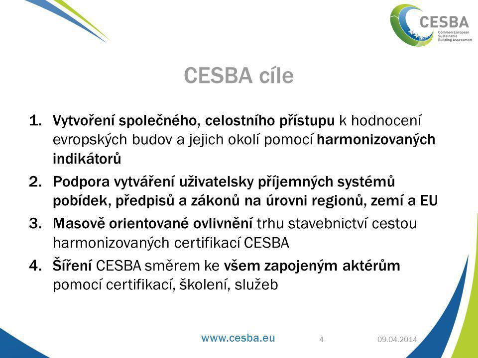 www.cesba.eu 1.Vytvoření společného, celostního přístupu k hodnocení evropských budov a jejich okolí pomocí harmonizovaných indikátorů 2.Podpora vytváření uživatelsky příjemných systémů pobídek, předpisů a zákonů na úrovni regionů, zemí a EU 3.Masově orientované ovlivnění trhu stavebnictví cestou harmonizovaných certifikací CESBA 4.Šíření CESBA směrem ke všem zapojeným aktérům pomocí certifikací, školení, služeb 09.04.2014 CESBA cíle 4