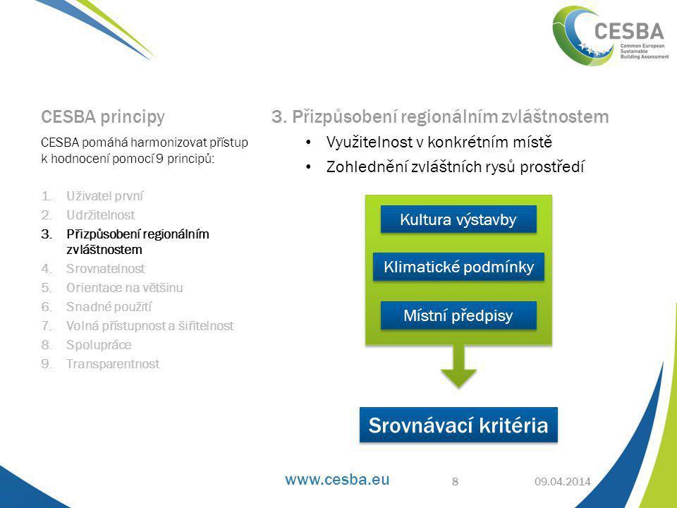www.cesba.eu Snadná čitelnost, přehlednost a srovnání výsledků 09.04.2014 CESBA charakteristické znaky budovy 19