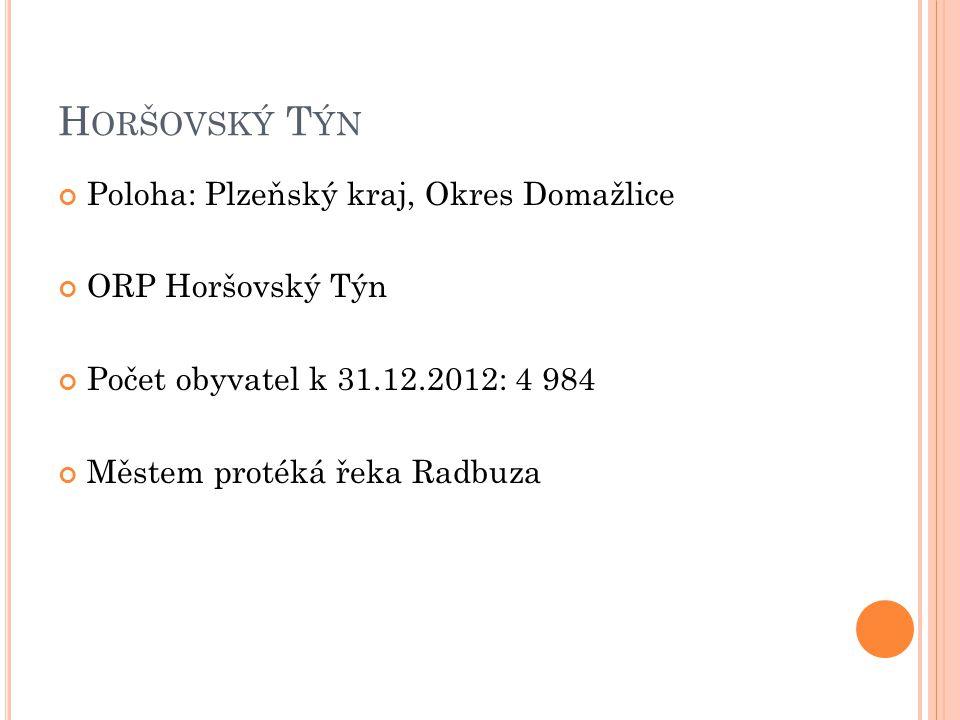 H ORŠOVSKÝ T ÝN Poloha: Plzeňský kraj, Okres Domažlice ORP Horšovský Týn Počet obyvatel k 31.12.2012: 4 984 Městem protéká řeka Radbuza