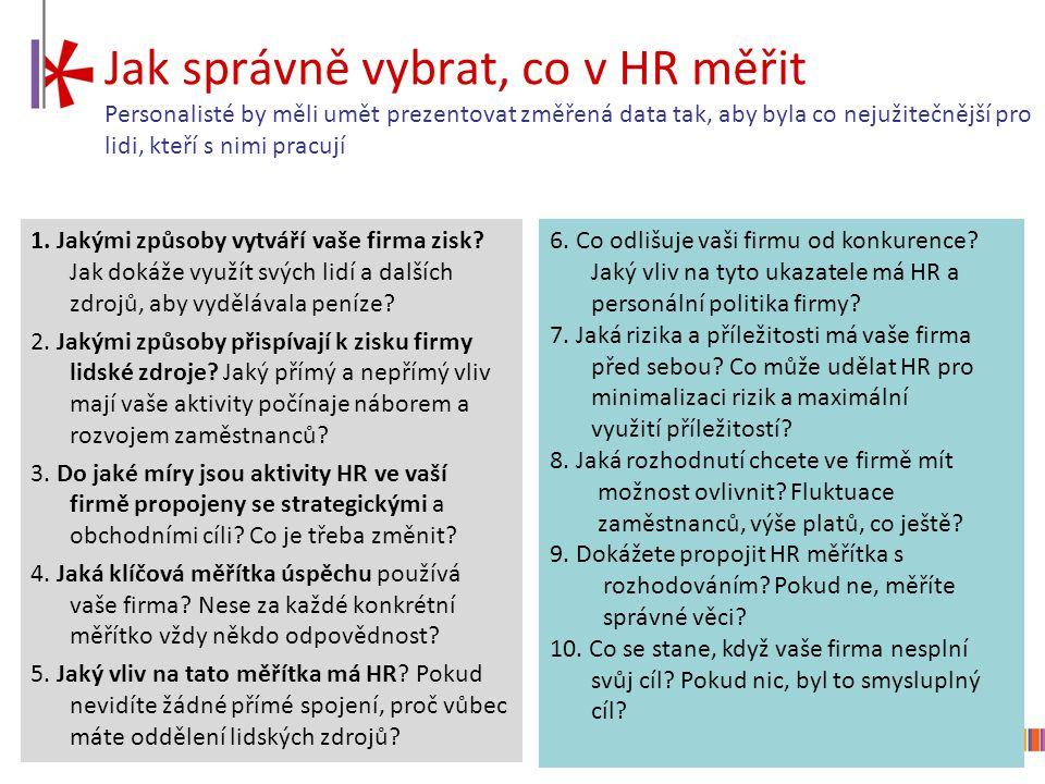 10 Jak správně vybrat, co v HR měřit Personalisté by měli umět prezentovat změřená data tak, aby byla co nejužitečnější pro lidi, kteří s nimi pracují