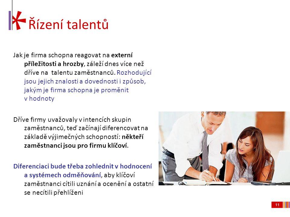 11 Řízení talentů Jak je firma schopna reagovat na externí příležitosti a hrozby, záleží dnes více než dříve na talentu zaměstnanců. Rozhodující jsou